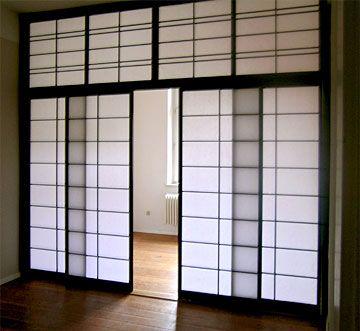 Japanische Wand shoji drei flügel mit trittschutz und beidseitiger besprossung
