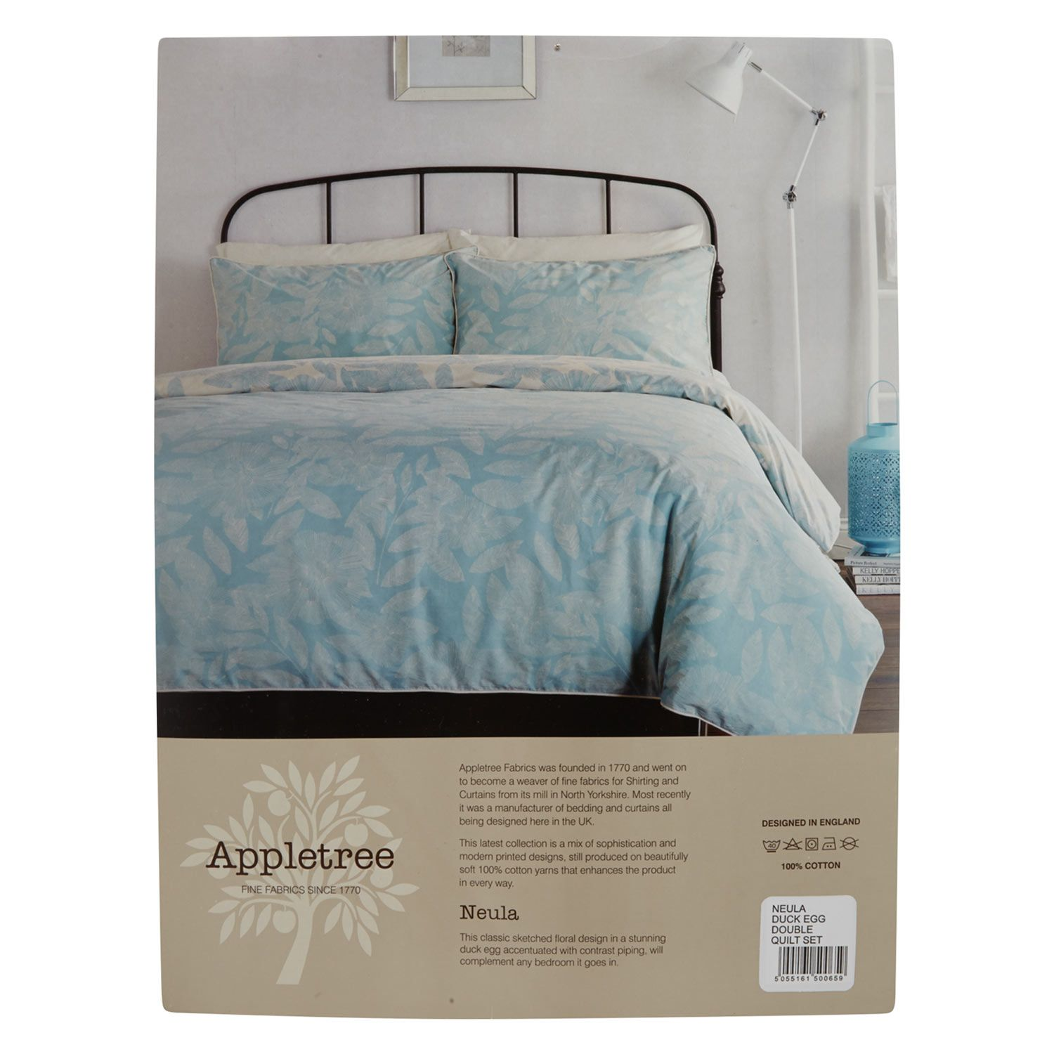 Appletree Double Blue Leaf Print Duvet Set Duvet Sets Blue