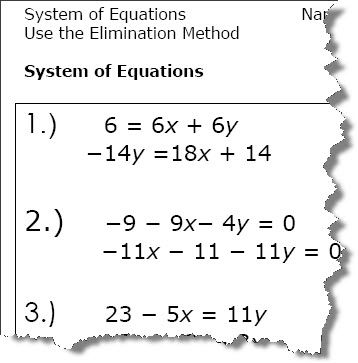 Elimination Method Algebra Worksheets  Algebra Worksheets
