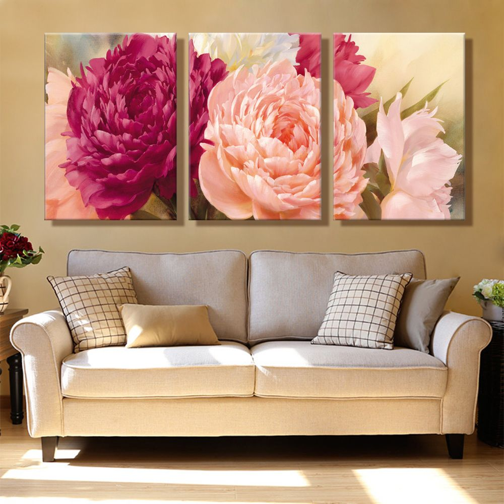 Oil painting canvas bright flowers wall art decoration home decor on