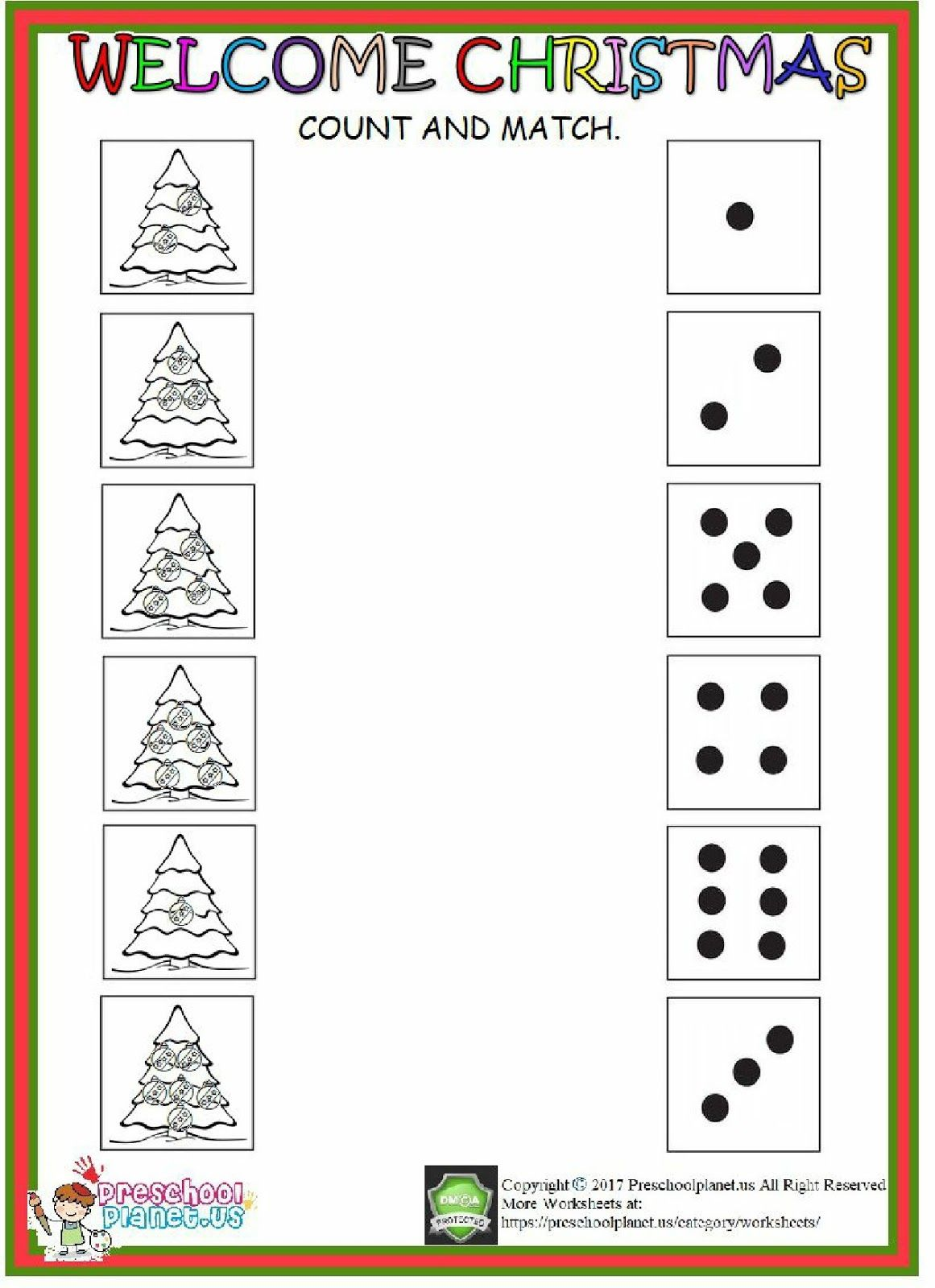 Christmas Count Worksheet Coloringsheet Worksheets