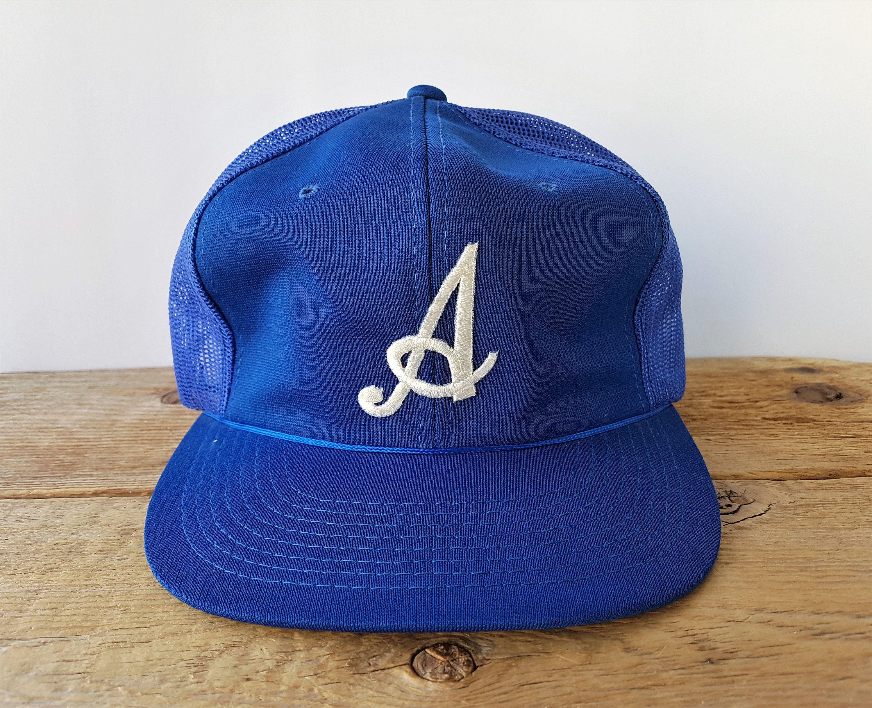 Vintage 80s Letter A Embroidered Royal Blue Mesh Snapback Hat Etsy Hats Snapback Hats Vintage