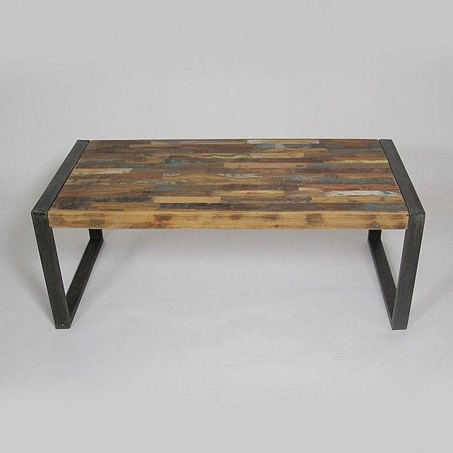 Table basse industrielle en m tal et bois color grand mod le mox18 made in meubles la - Chehoma table basse ...
