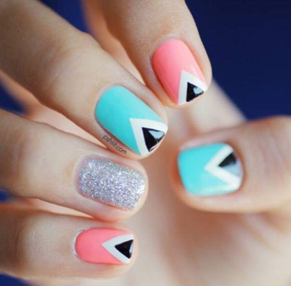 teal pink gray and black nails