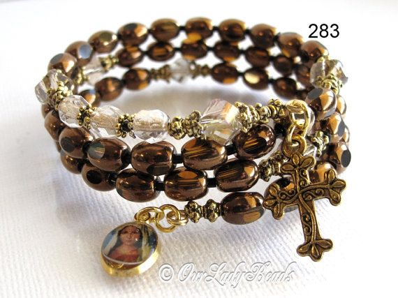 Rosary Bracelet,Wrap Rosary Bracelet,Jet Glass Brown Oval (6x8mm),Brass,Cross,Medal,Rosary Jewelry,Catholic,Confirmation,Our Lady Beads,283 #rosaryjewelry