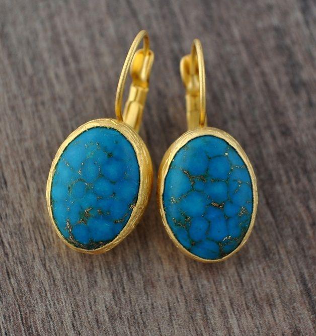 "Pendientes - ""Turquoise"" Gold Earring - hecho a mano por Ladysworld en DaWanda"