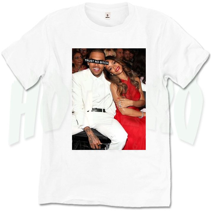 b2424bd2fede Chris Brown and Rihanna Trust No Bitch T Shirt   Price   14.00     menurbanclothing