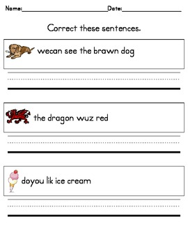 Writing Practice -- Correct These Sentences for Kindergarten ...