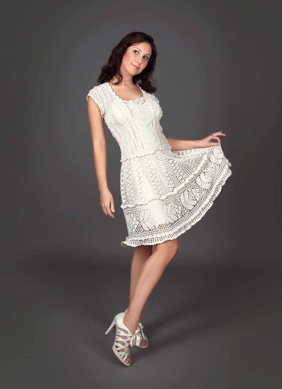 Vestido de crochet exclusivo blanco lechoso por LecrochetArt