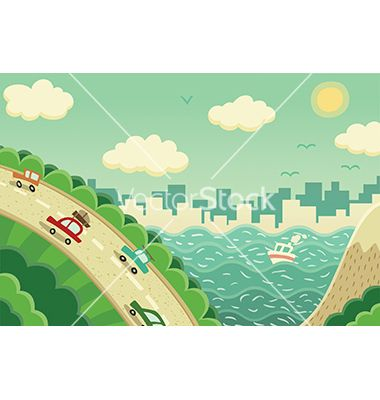 Weekend trip away from the city vector by Reuki on VectorStock®