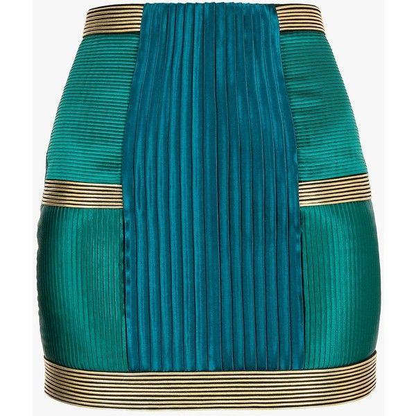 Balmain Pleated crepe mini skirt ($3,030) ❤ liked on Polyvore featuring skirts, mini skirts, balmain, blue pleated skirt, zipper skirt, full length skirt, short skirts and blue high waisted skirt