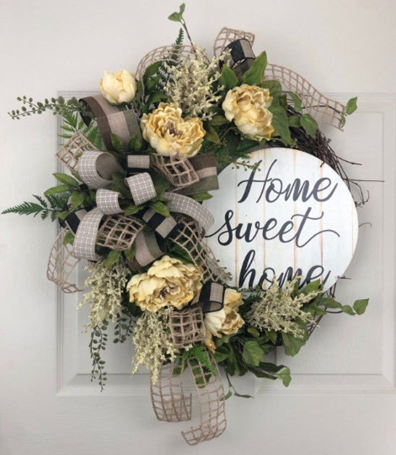 Photo of How to make an everyday wreath, everyday wreath for front door, Grapevine DIY, home sweet home wreath. Everyday wreath tutorial