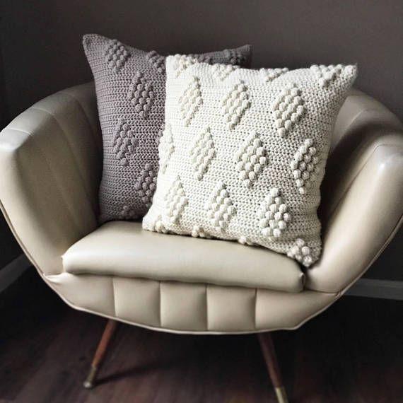 CROCHET PATTERN, Diamonds in the Puff Pillow Pattern, Crochet Pillow ...