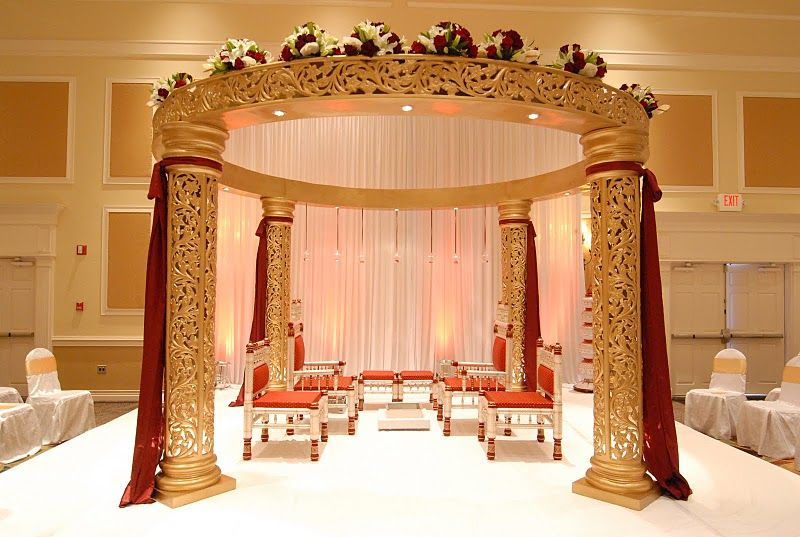 Classic Gold Jali Mandap With Beautiful Gold And Red Drapes