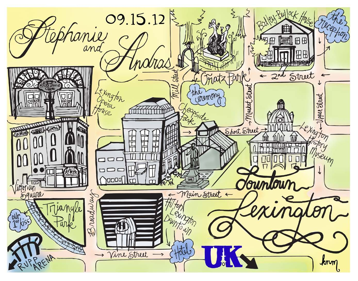 Custom Hand-drawn Lexington, KY Wedding Map for invitation suite! Ask us about our prices!