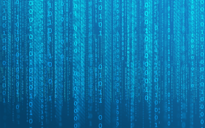 Download Wallpapers 4k Binary Code Blue Background