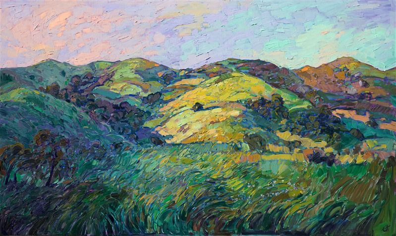 Emerald Hills Contemporary Impressionism Landscape Oil Paintings For Sale By Erin Hanson Contemporary Impressionism Impressionism Oil Painting Landscape