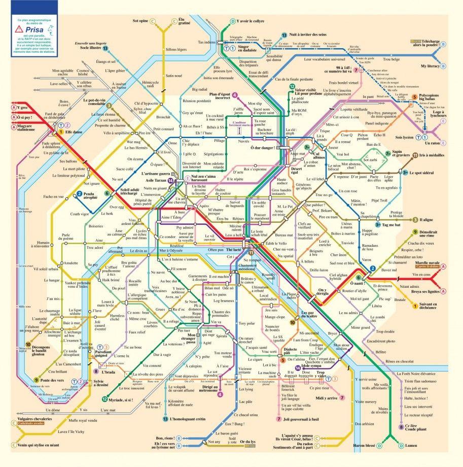 Le Plan Des Stations Du Metro De Paris En Anagrammes Underground