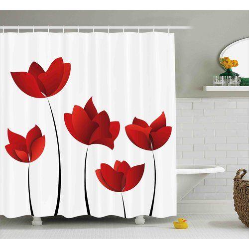 Codespoti Vivid Rose Flower Petal Shower Curtain Hooks Floral