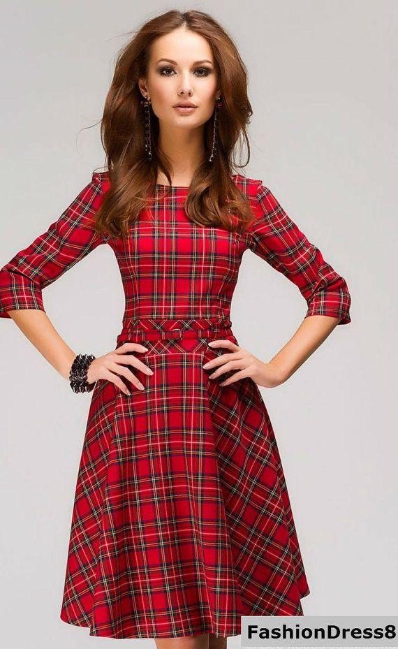 8a61513c0 Rote Tartan Kleid. Karo Mini Dress.Casual ausgestelltes Kleid Langarm.