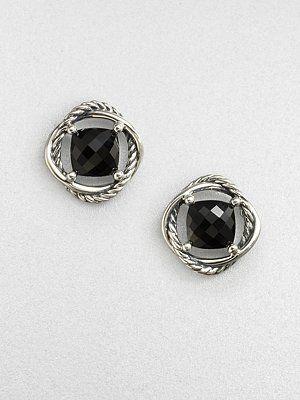 David Yurman - Faceted Sterling Silver Button Earrings/Black Onyx - Saks.com