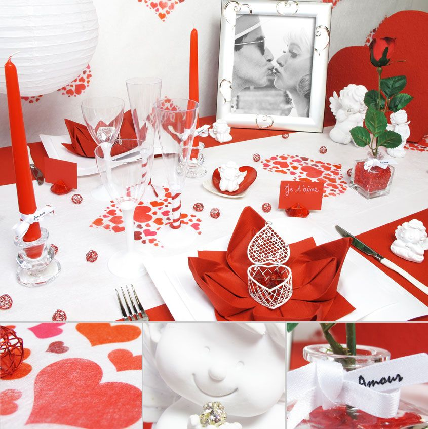 voici une table romantique pour la st valentin f tes. Black Bedroom Furniture Sets. Home Design Ideas