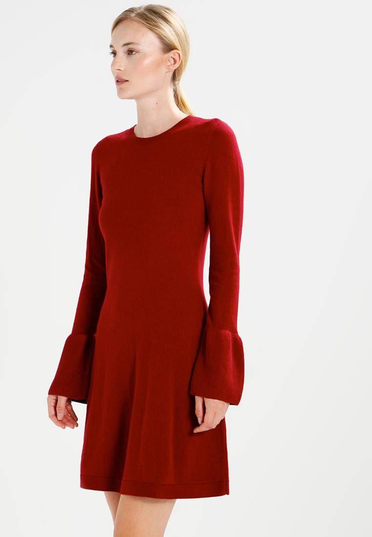 e590654a30537e edc by Esprit. FRILL - Gebreide jurk - garnet red. Materiaal buitenlaag 40