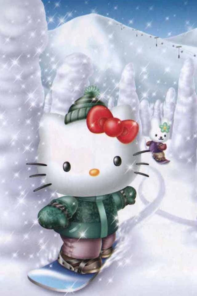 3d Hello Kitty Skiing Wallpapers For Iphone 4s Hello Kitty