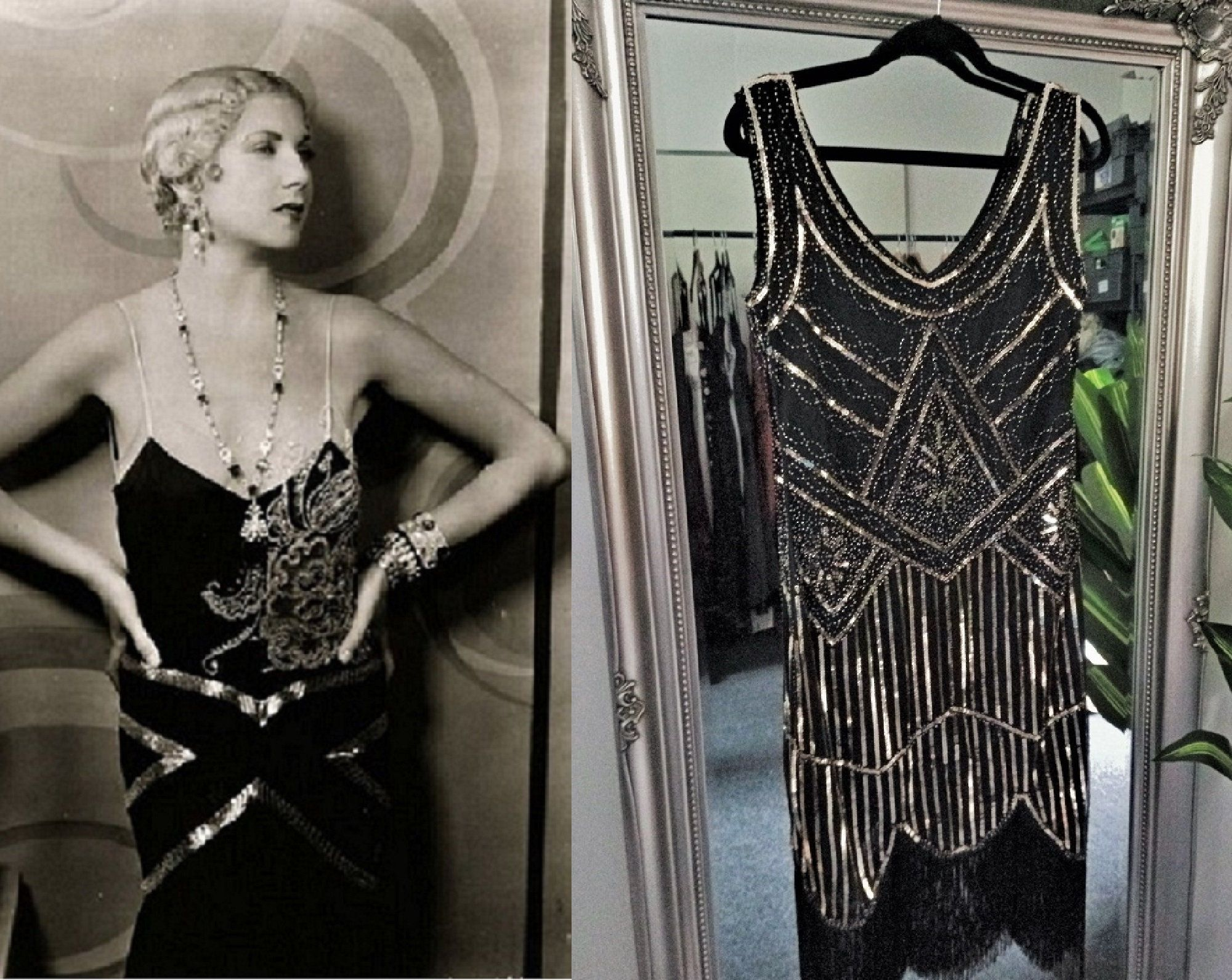 Heavily Beaded Black Fringe Gatsby party Dress Formal sequined