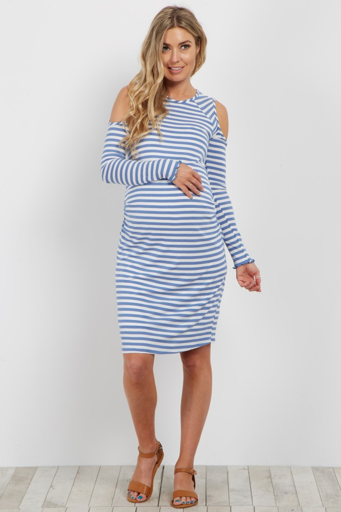 94b8ba242603e Blue Striped Cold Shoulder Fitted Ribbed Maternity Dress | Pregnancy |  Pinterest | Maternity dresses, Maternity Fashion and Dresses