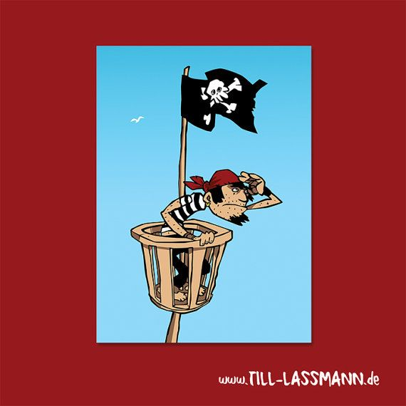 Postcard Pirate * Illustration * A5 * Kids * Greeting Card