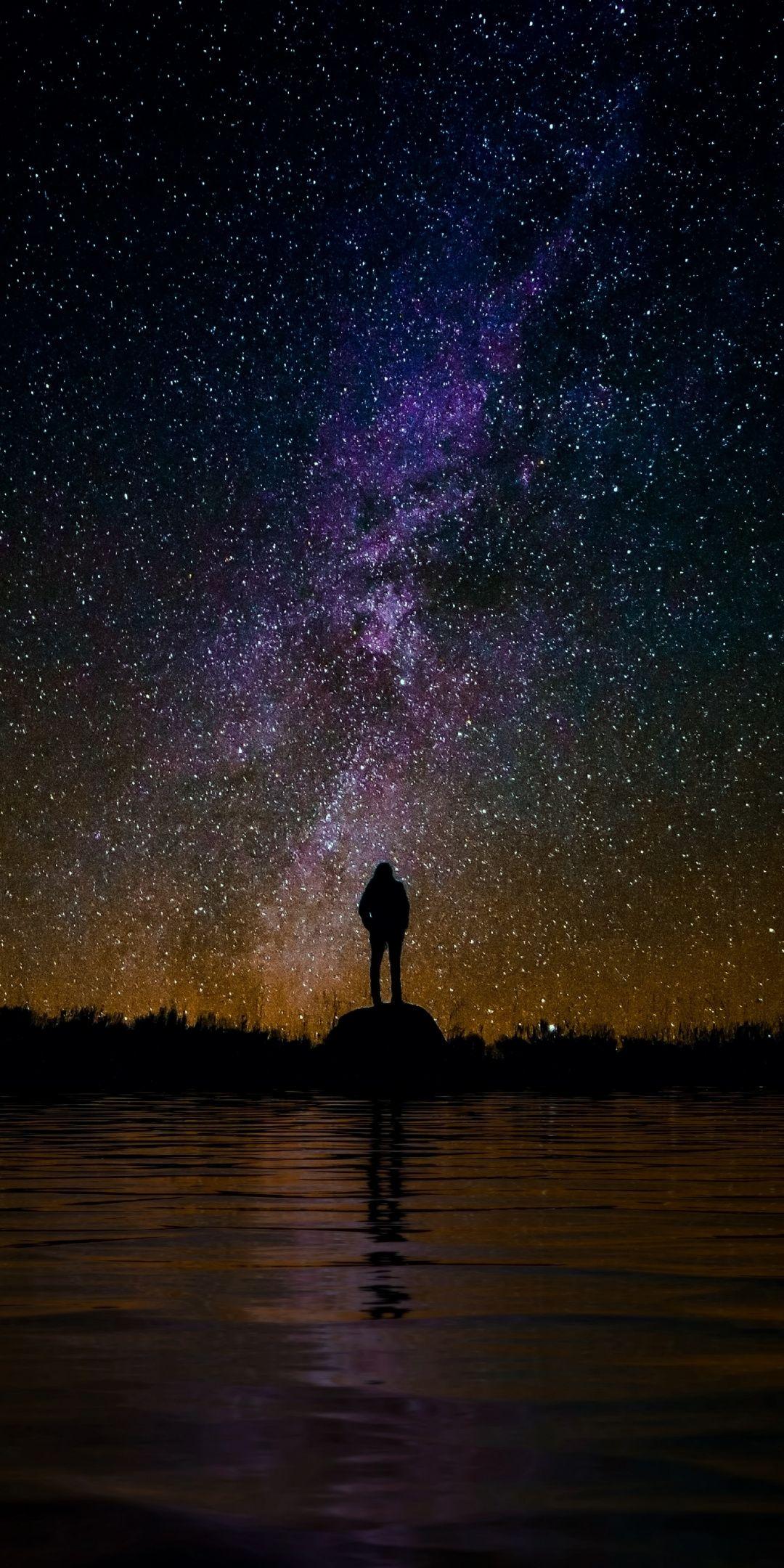 Silhouette Outdoor Man Starry Sky Milky Way Night Wallpaper Starry Night Wallpaper Night Sky Wallpaper Starry Night Sky Starry sky milky way landscape night