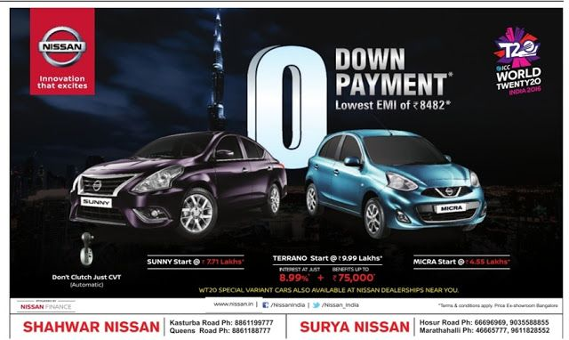 Zero down payt offer on Nissan cars with lowest EMI | February ...