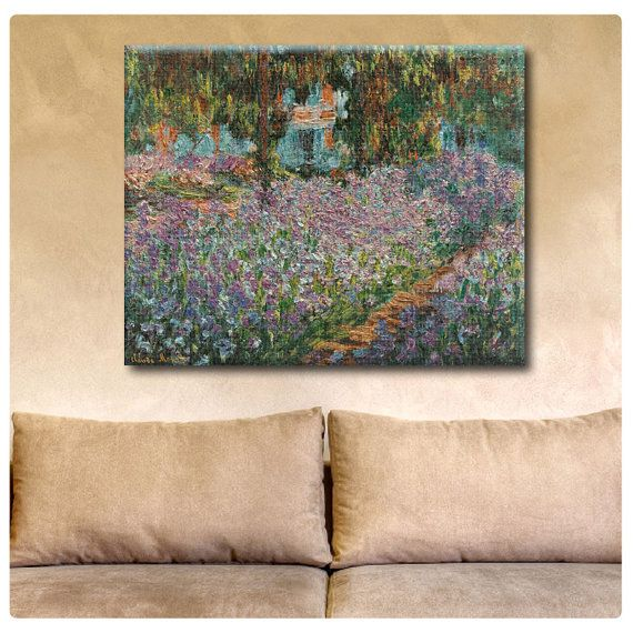 "Canvas Print ""Irises"" By Claude Monet wall art Artwork photos fine art reproduction poster gallery decor Repro print Giclee on Etsy, $17.90"