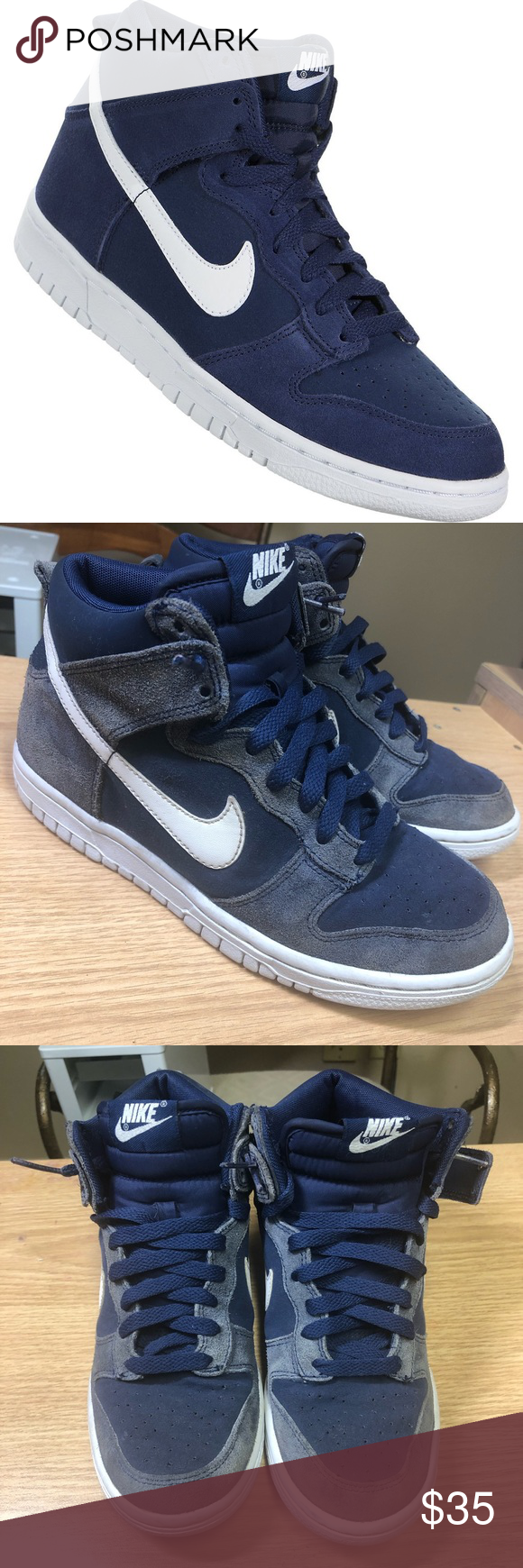 308319-406 Binary Blue//White NEW Size 7Y Boys Nike Dunk High GS