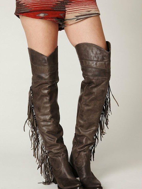 be6c8bdc7f red thigh high cowboy boot | Incredible thigh-high cowboy boots. | Things I  like