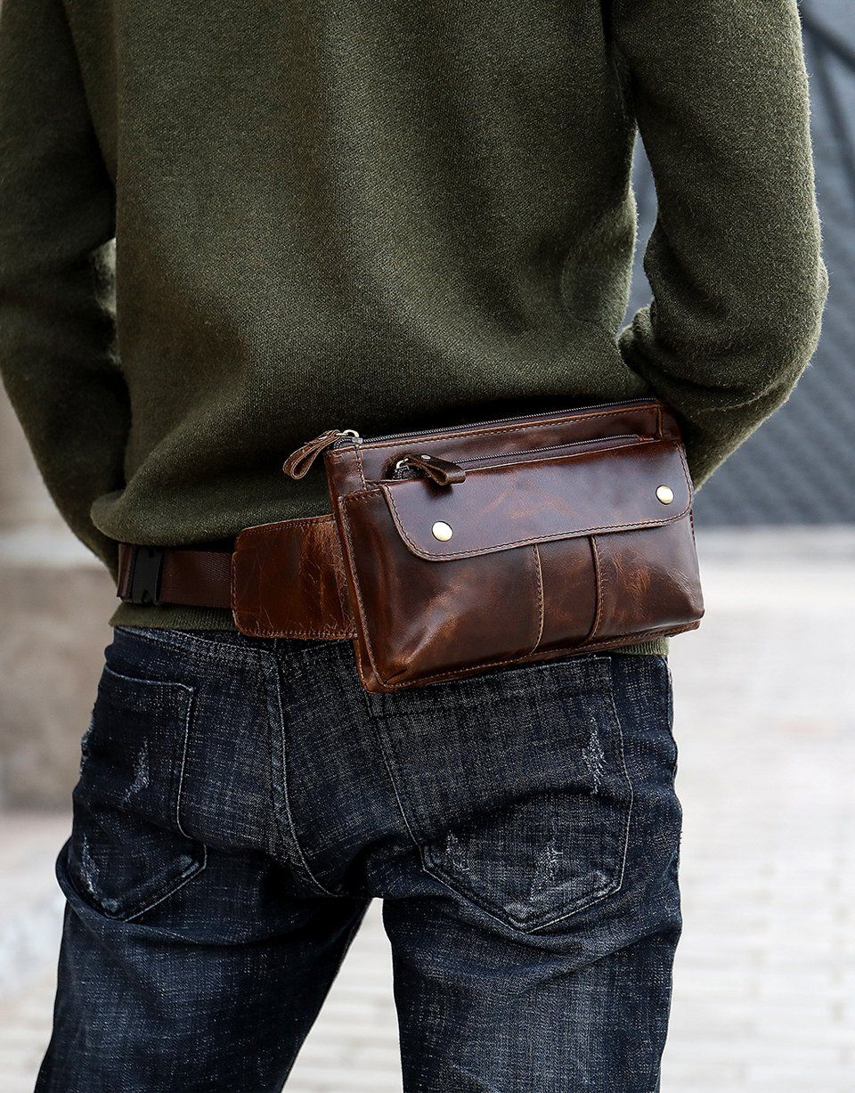 Fine Jewelry Capable New Multi-function Money Belt Bag Waist Fanny Pack Leg Waist Pouch Bags Hip Mens Waists Bags Messenger Bag Men Genuine Leather