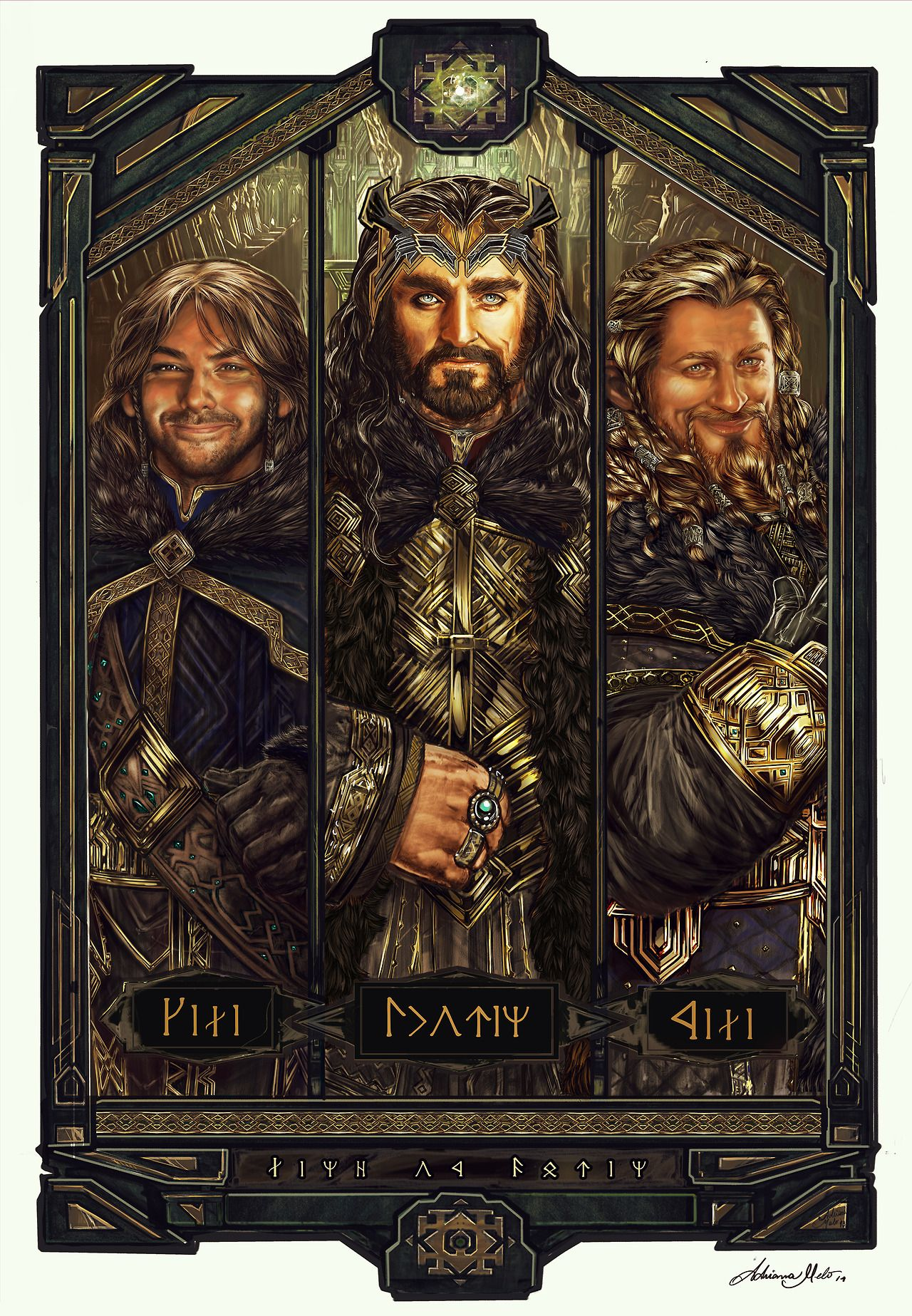"""This awesome triptych featuring Kili, Thorin, and Fili is titled """"The Line of Durin"""" by Adriana Melo. If you are interested in a print, you can contact her through her Tumblr."""