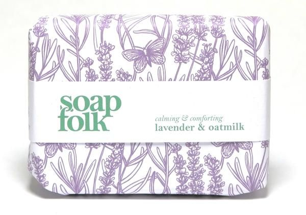 Natural handmade soap from Soap Folk, scented with calming lavender. Contains Fairtrade, organic shea butter.
