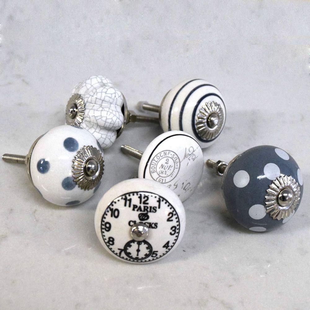 Set of 6 Vintage Grey & White ceramic cupboard door knobs drawer ...