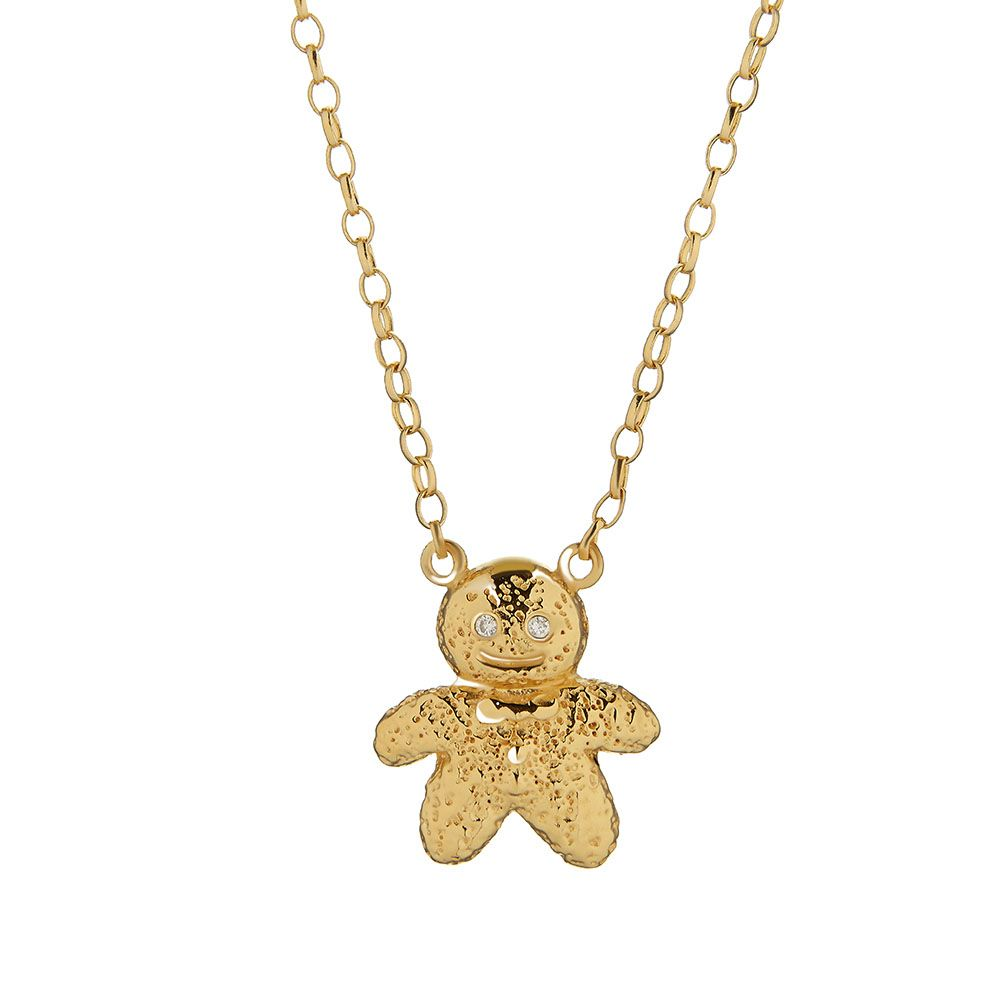 Ct yellow gold vermeil and silver gingerbread man necklace
