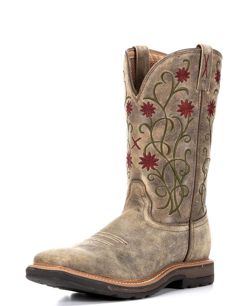 Twisted X Floral Stitched Roughstock Cowgirl Boots Steel