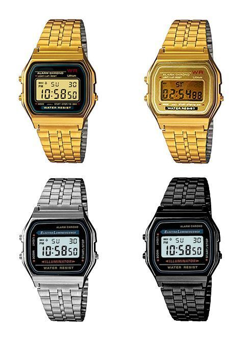 74e2e832a098 CLASSIC RETRO VINTAGE STYLE GOLD SILVER GUNMETAL UNISEX DIGITAL METAL LCD  WATCH