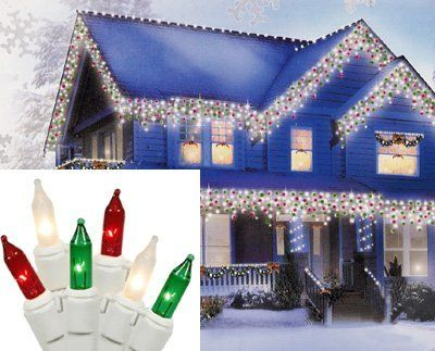 Set Of 100 Red Green And Clear Frosted Icicle Christmas Lights White Wire By Vco 16 9 Icicle Christmas Lights Led Icicle Christmas Lights Christmas Lights