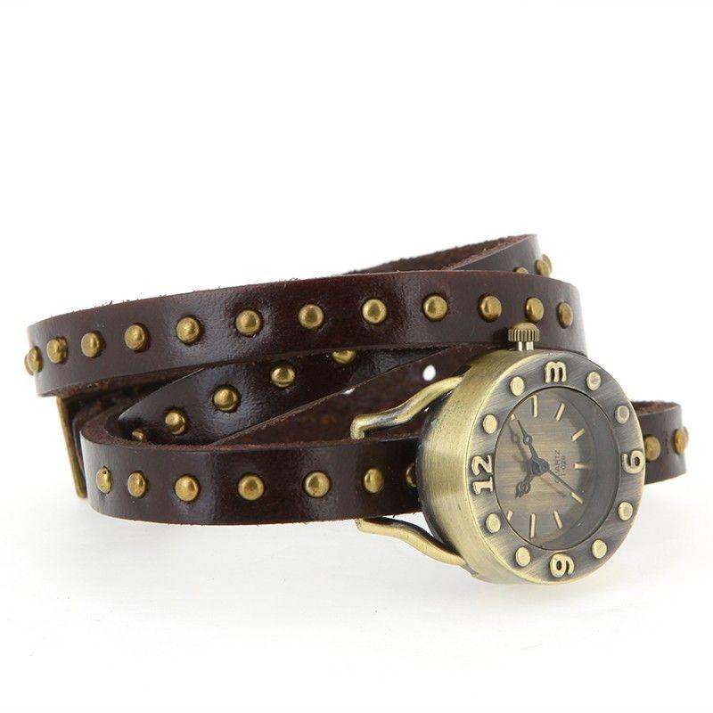FREE SHIPPING Genuine Cow Leather Ladies Vintage Punk Genuine Leather Strap Wrap Rivets Bracelet Quartz Wrist Watch from dlarra.com on Storenvy