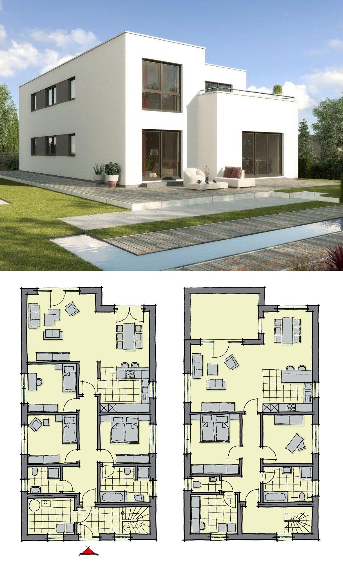 Zweifamilienhaus modern mit Flachdach Architektur