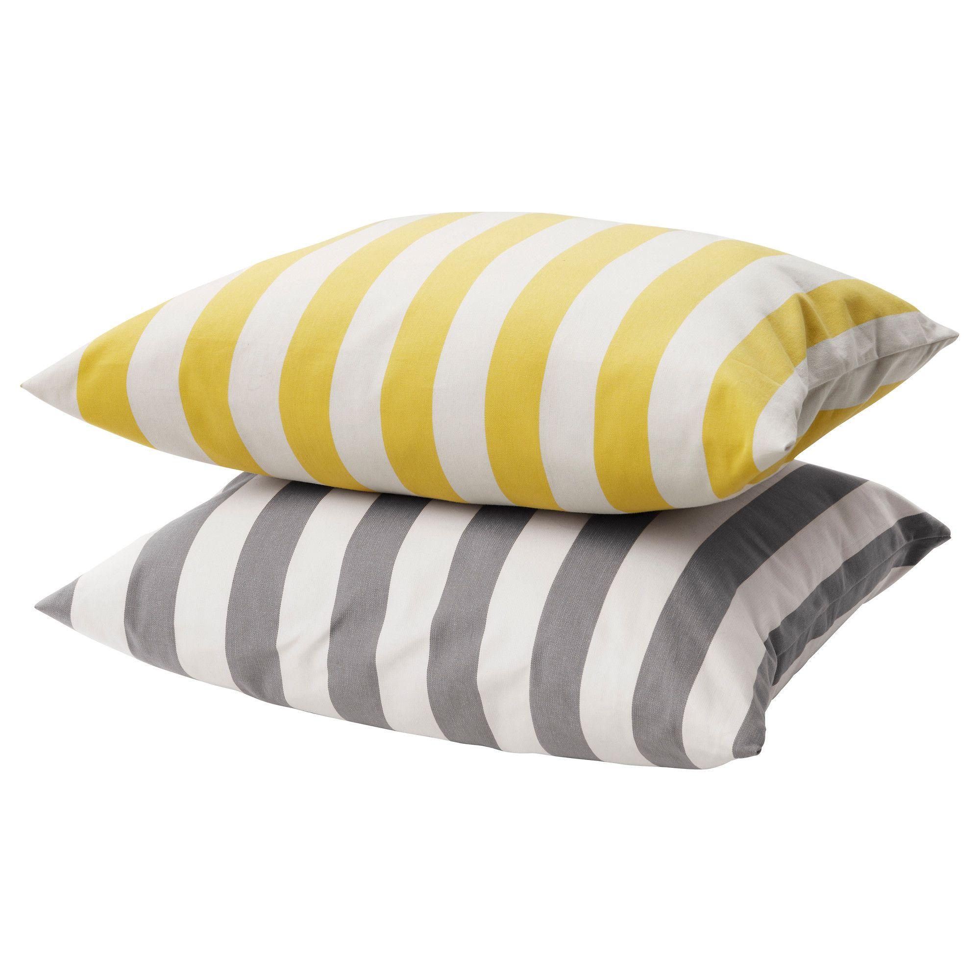 GrenÖ Cushion Striped In Lemon Or Grey Ikea