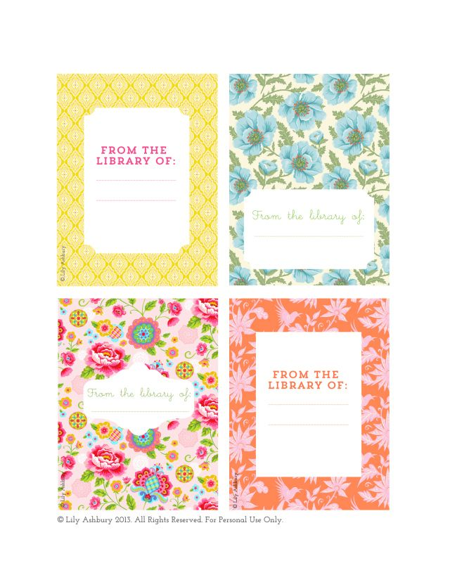 Freebie! Lily Ashbury Printable - On the Blog! -Book Plates   C o r i n a .