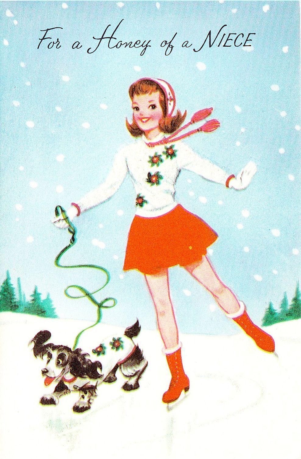 Vintage Glitter Sweater Ice Skater Girl w/ Dog Norcross Christmas Greeting Card
