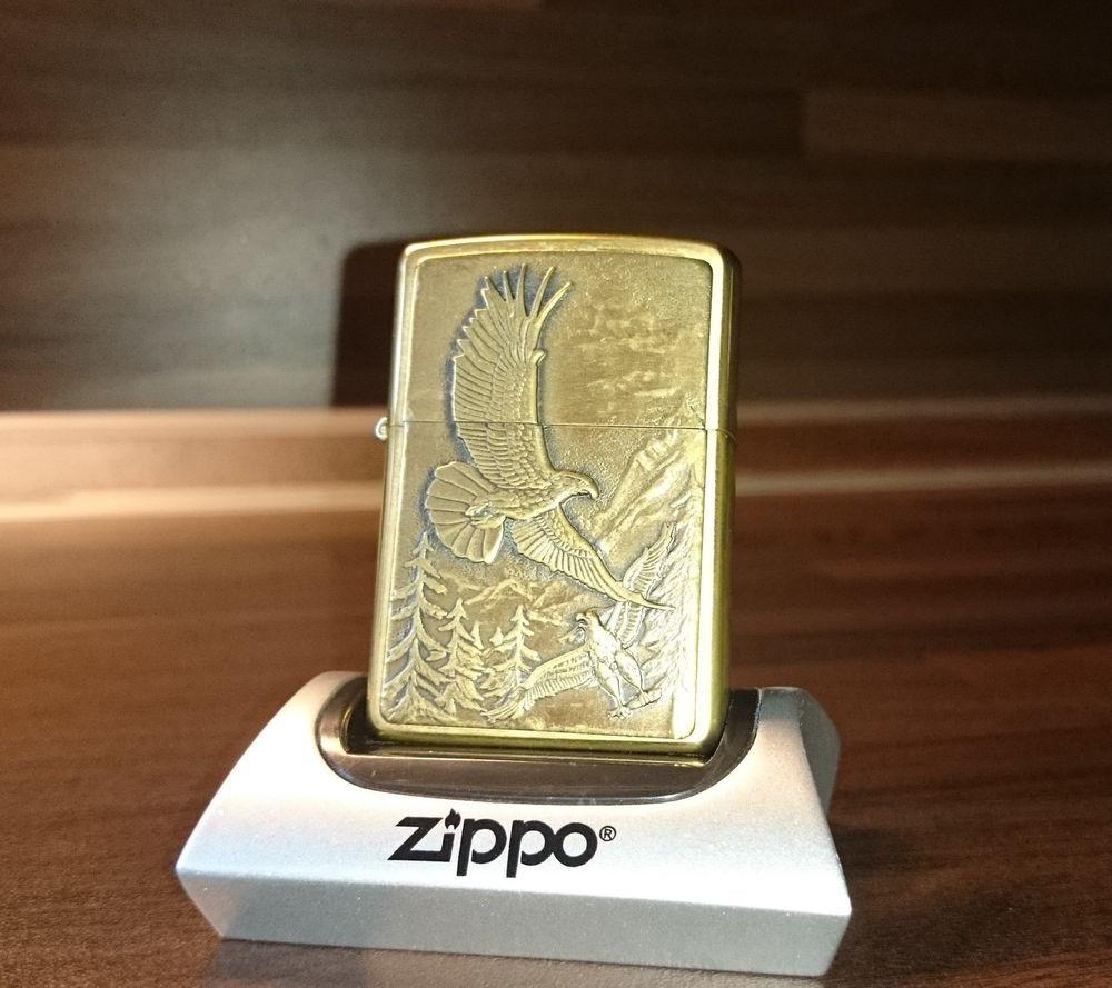 Original Zippo Where Eagles Dare Emblem Brass Brushed Messing